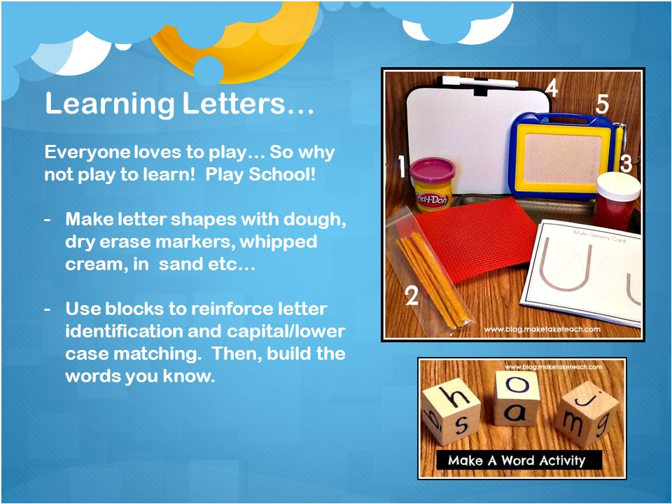 Learning Letters… Everyone loves to play… So why not play to learn! Play School!