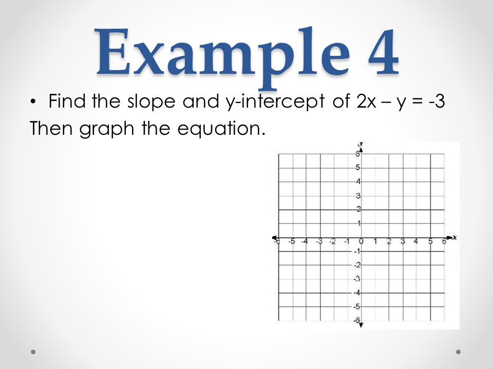 Example 4 Find the slope and y-intercept of 2x – y = -3