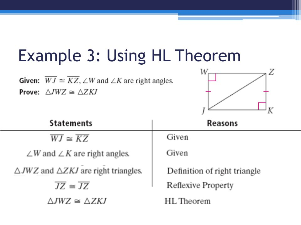 Example 3: Using HL Theorem