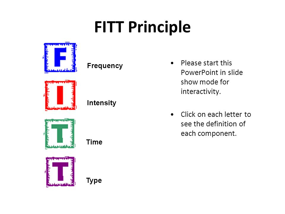 FITT Principle Please start this PowerPoint in slide show mode for interactivity. Click on each letter to see the definition of each component.