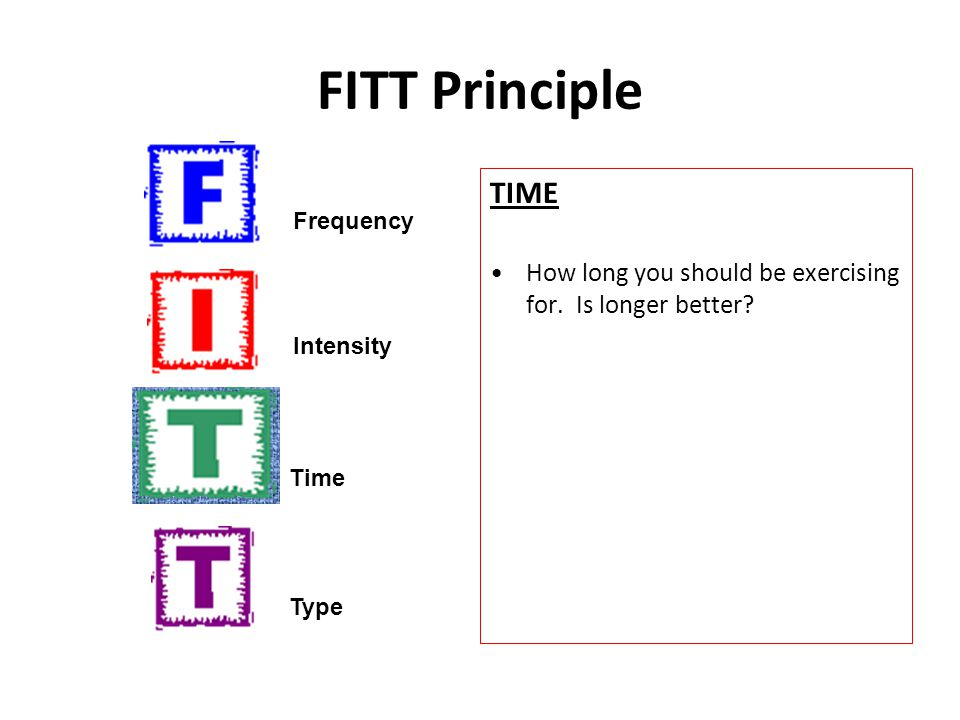 FITT Principle TIME. How long you should be exercising for. Is longer better Frequency. Intensity.