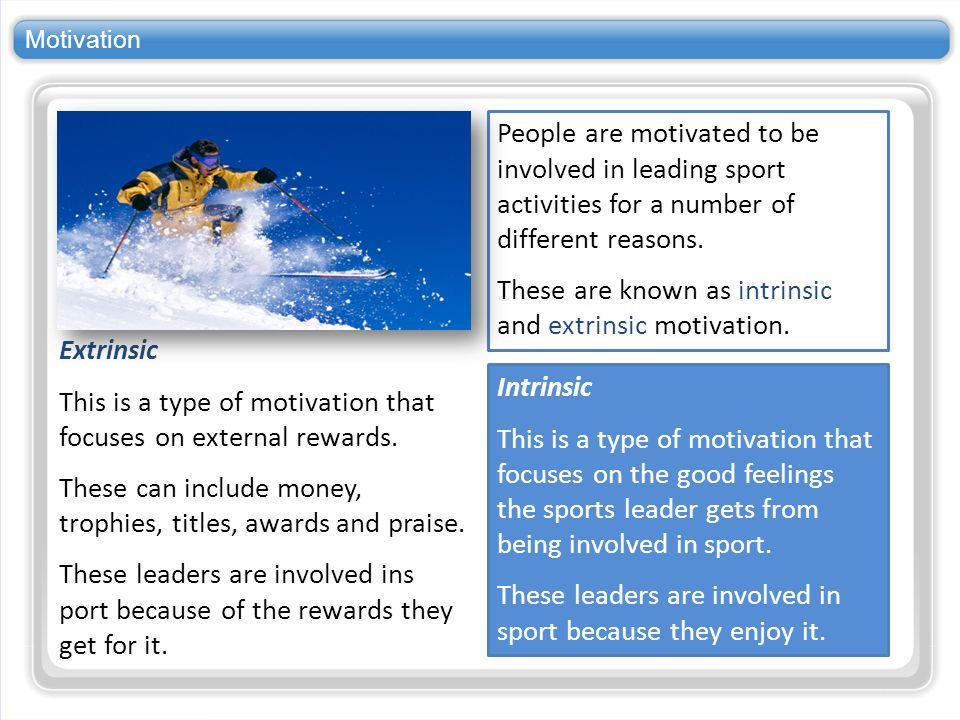 These are known as intrinsic and extrinsic motivation.