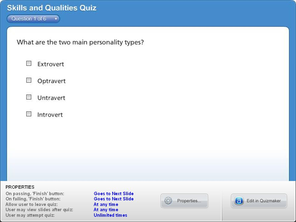 Skills and Qualities Quiz