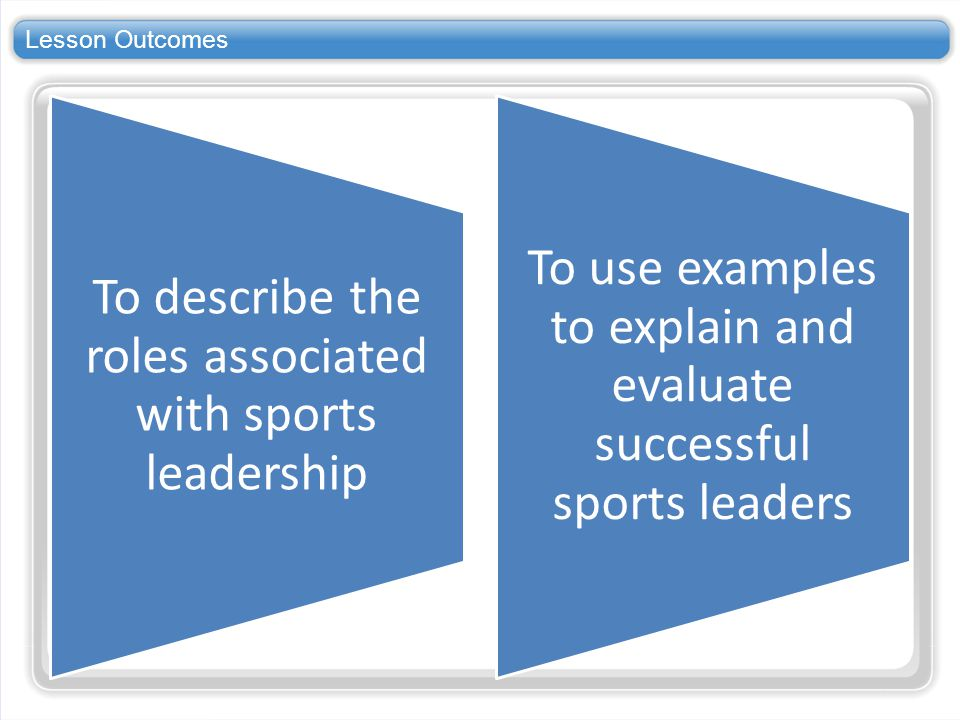 Lesson Outcomes To describe the roles associated with sports leadership.
