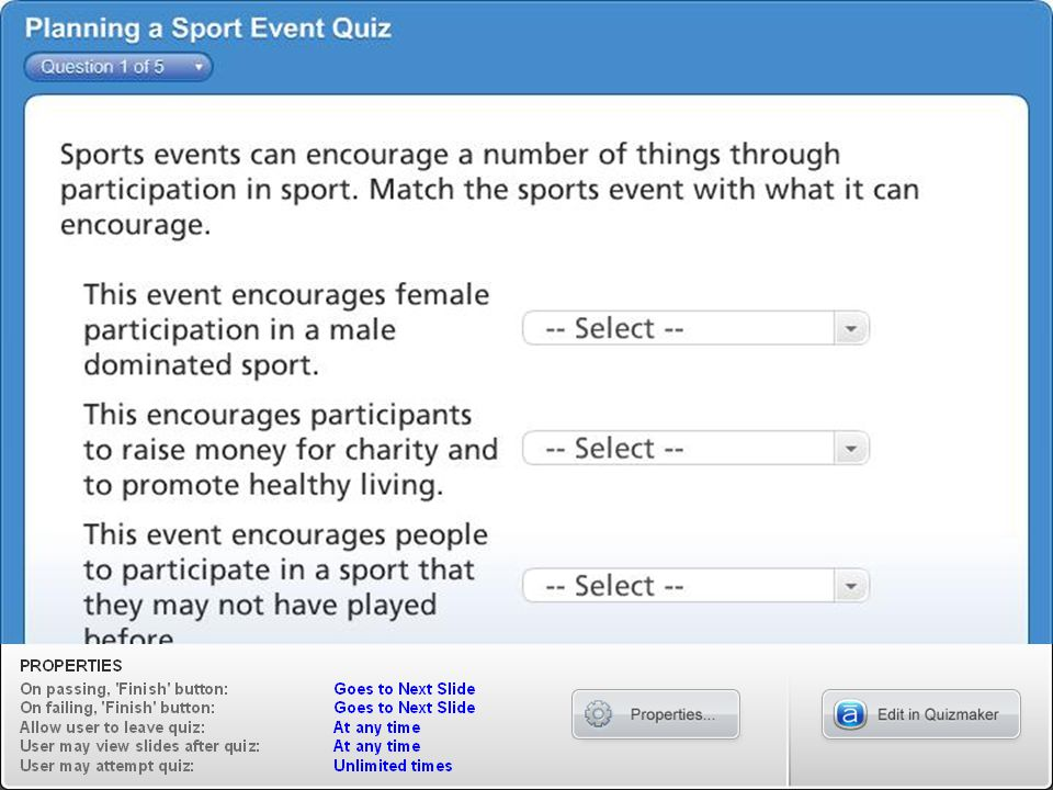 Planning a Sport Event Quiz