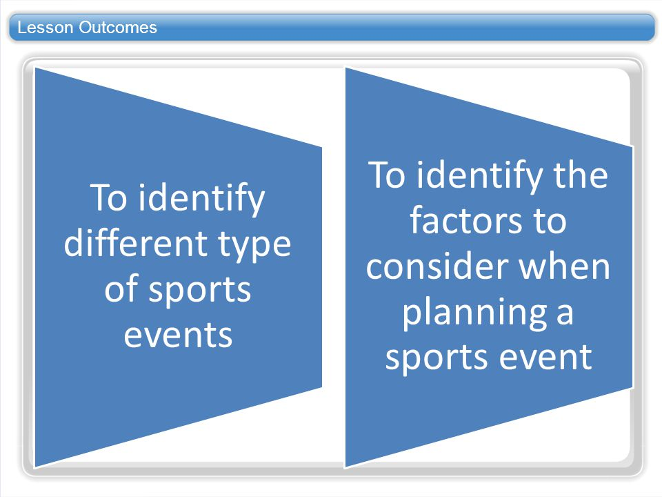 Lesson Outcomes To identify different type of sports events