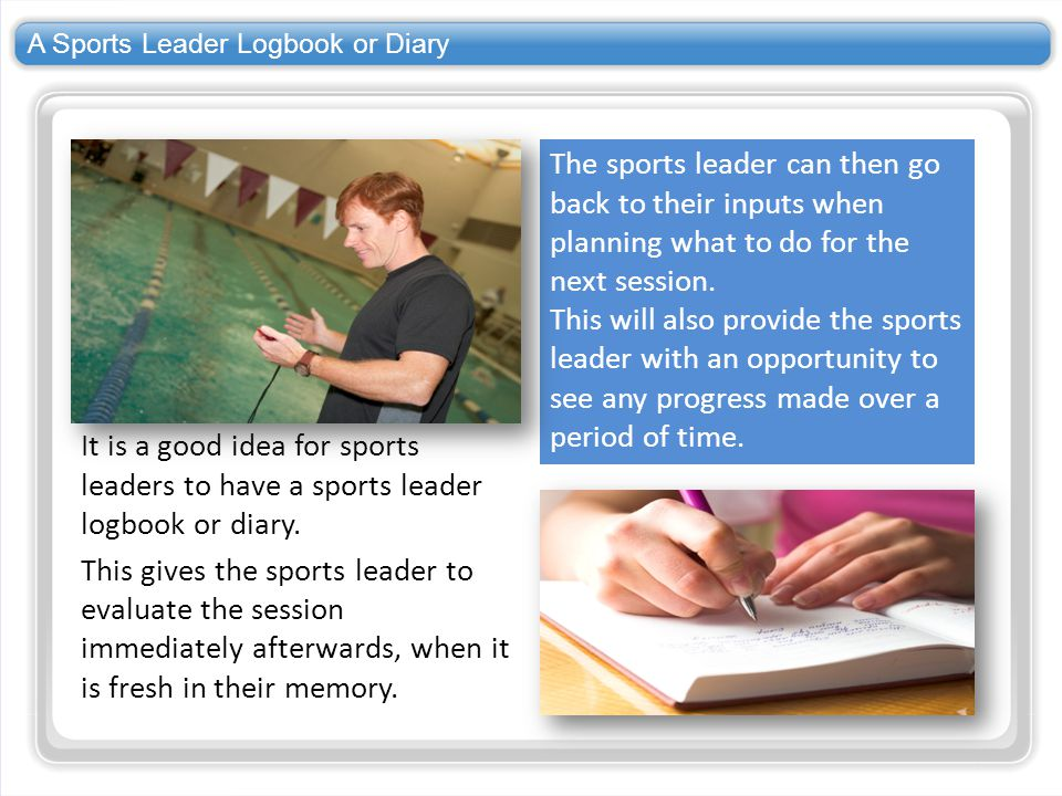 A Sports Leader Logbook or Diary