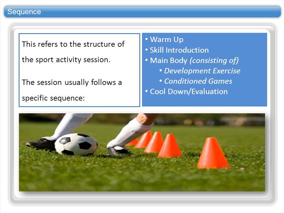 This refers to the structure of the sport activity session.