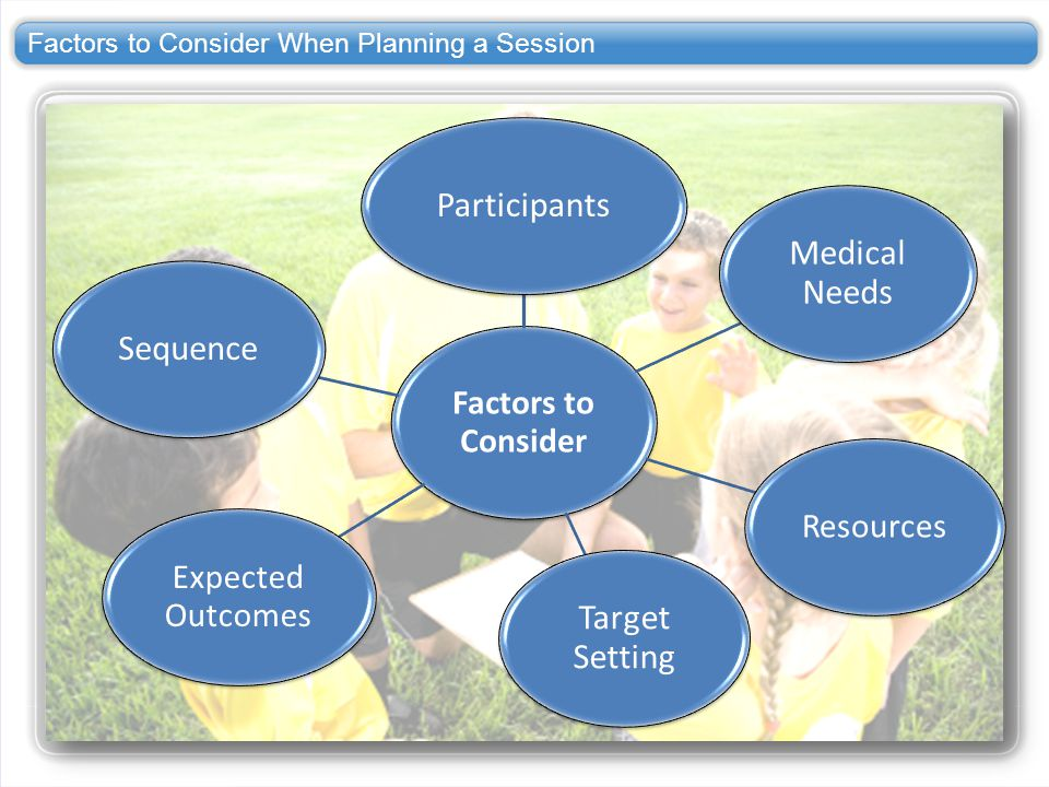 Factors to Consider When Planning a Session
