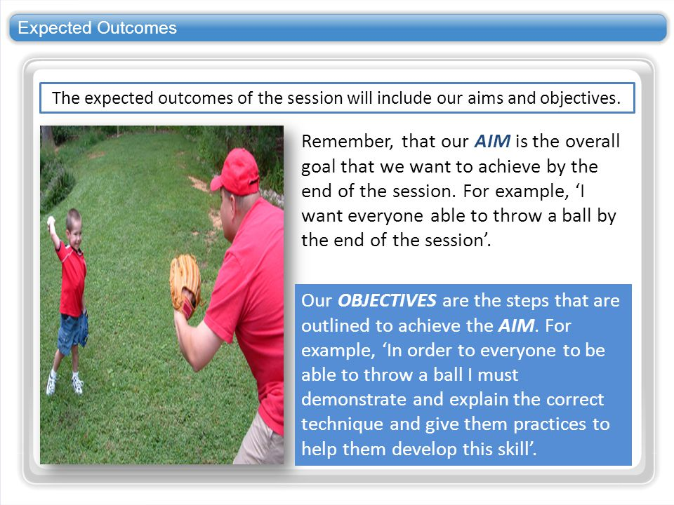 Expected Outcomes The expected outcomes of the session will include our aims and objectives.