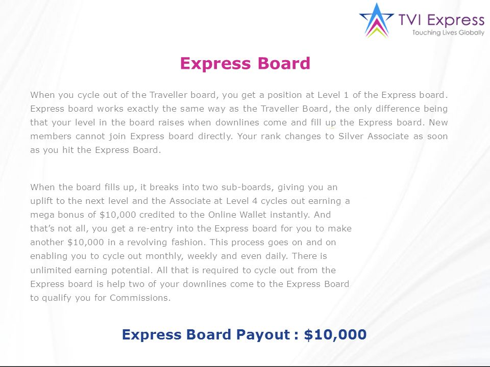 Express Board Payout : $10,000