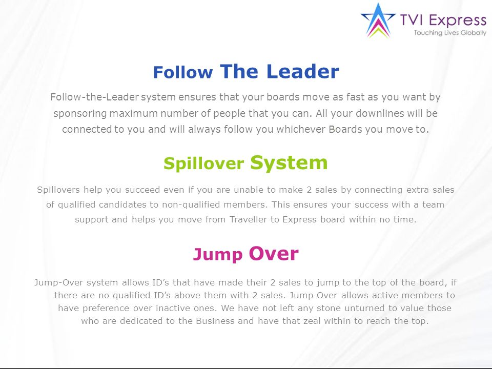 Follow The Leader Spillover System Jump Over