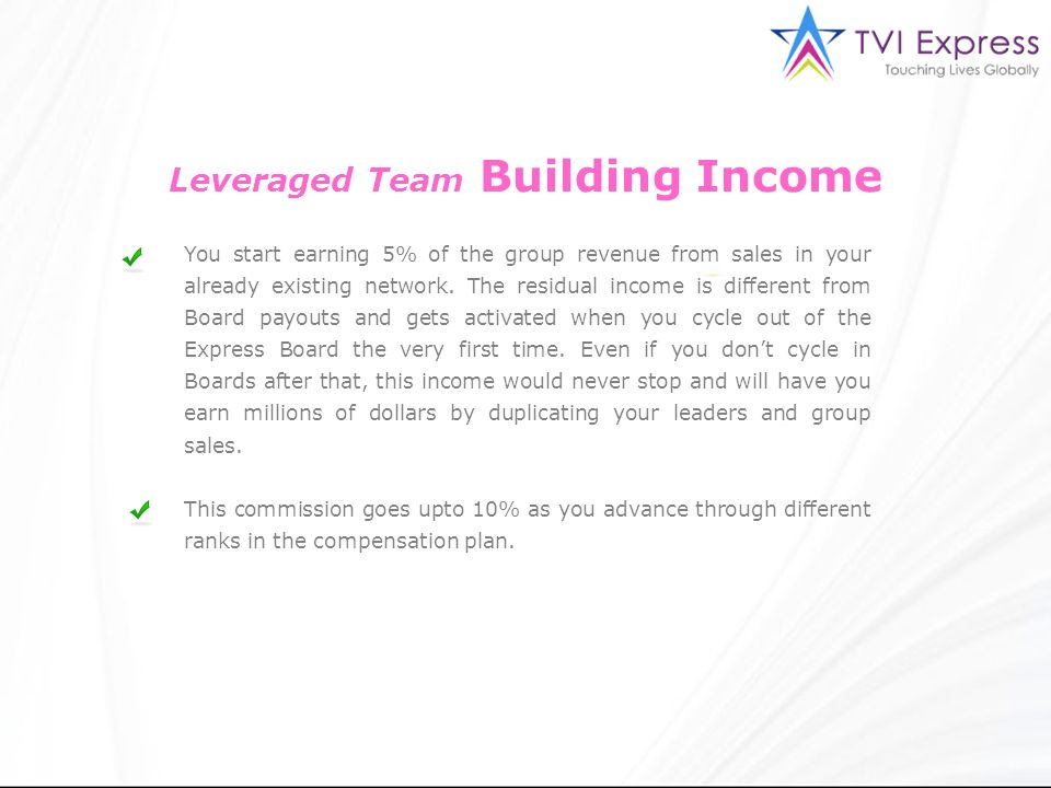 Leveraged Team Building Income
