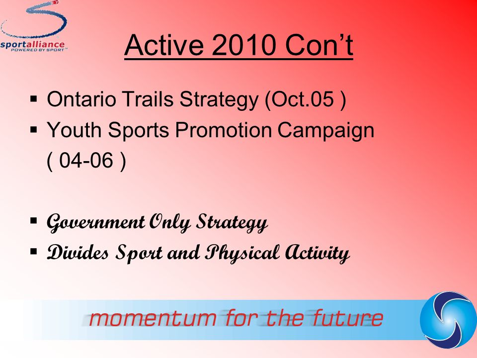 Active 2010 Con't Ontario Trails Strategy (Oct.05 )