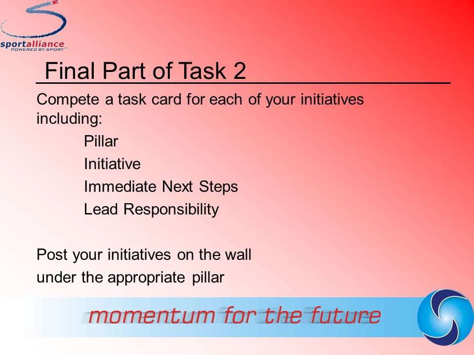 Final Part of Task 2 Compete a task card for each of your initiatives including: Pillar. Initiative.