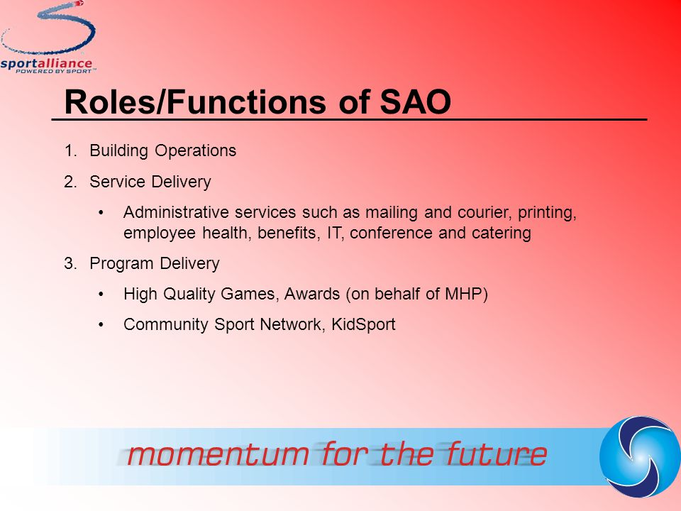 Roles/Functions of SAO