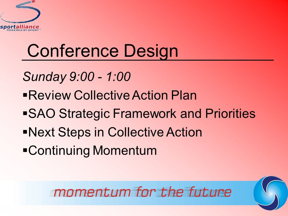 Conference Design Sunday 9:00 - 1:00 Review Collective Action Plan