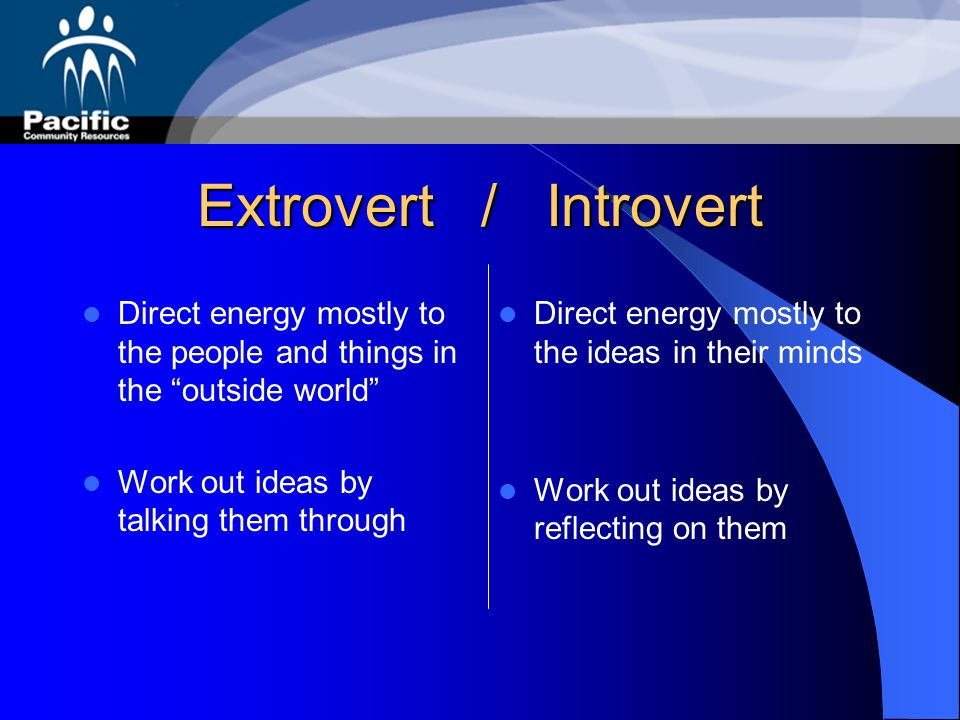 Extrovert / Introvert Direct energy mostly to the people and things in the outside world Work out ideas by talking them through.