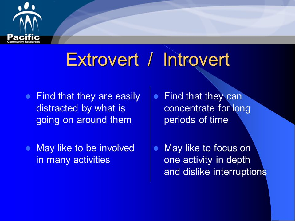 Extrovert / Introvert Find that they are easily distracted by what is going on around them. May like to be involved in many activities.