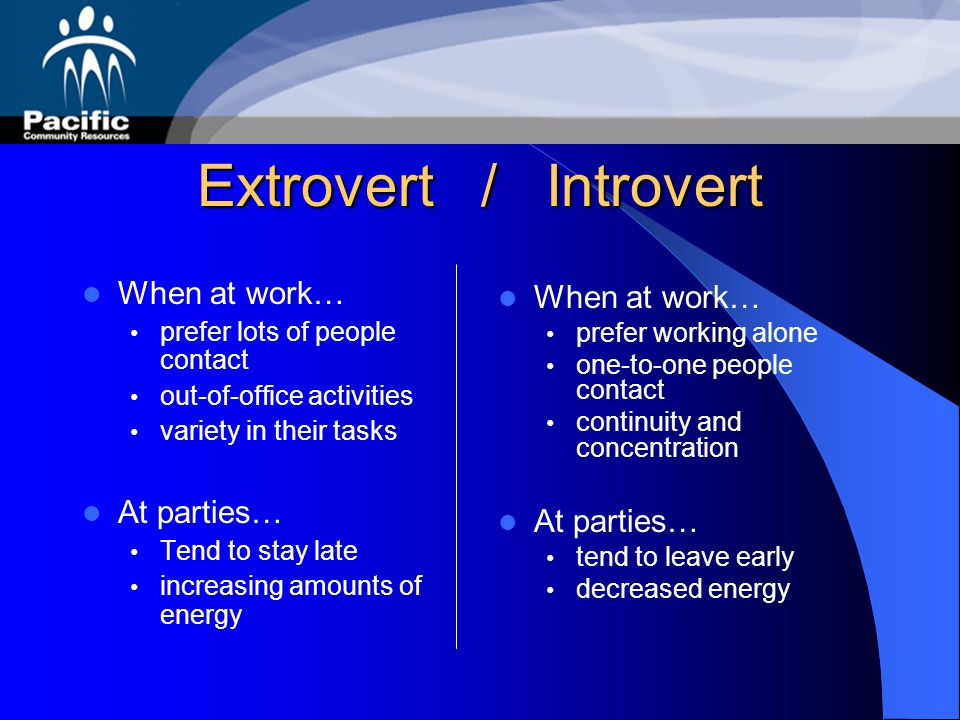 Extrovert / Introvert When at work… When at work… At parties…