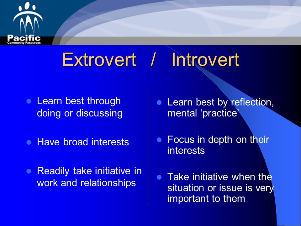 Extrovert / Introvert Learn best through doing or discussing