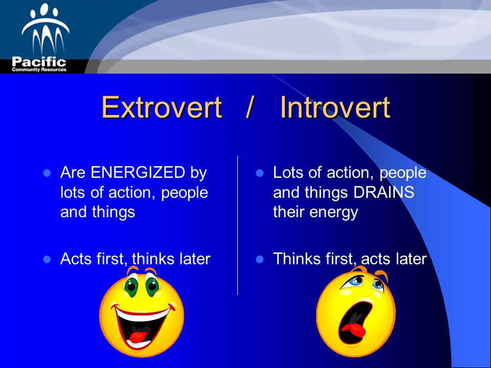 Extrovert / Introvert Are ENERGIZED by lots of action, people and things. Acts first, thinks later.