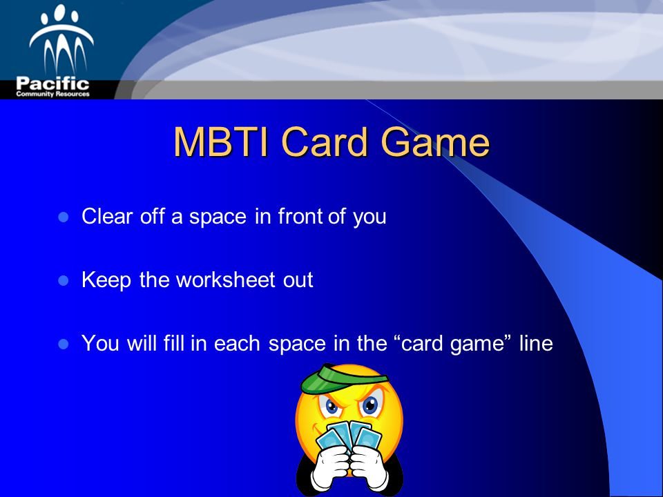 MBTI Card Game Clear off a space in front of you