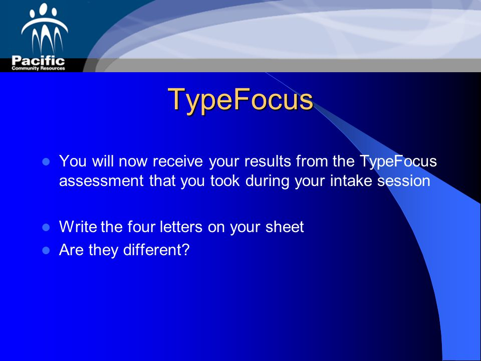 TypeFocus You will now receive your results from the TypeFocus assessment that you took during your intake session.