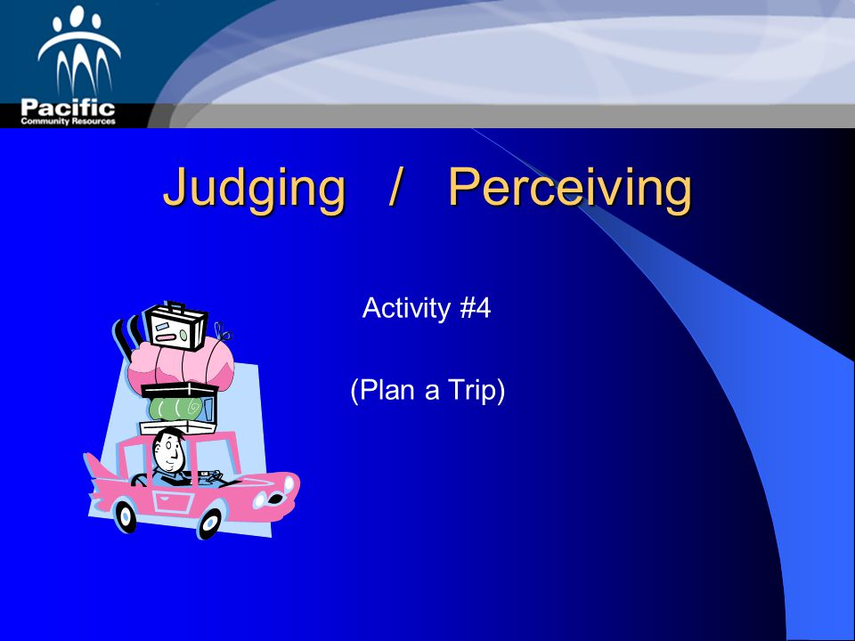 Judging / Perceiving Activity #4 (Plan a Trip)