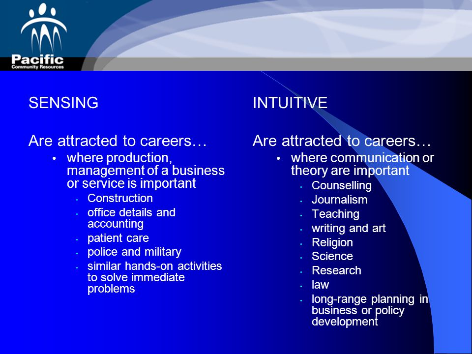 Are attracted to careers… INTUITIVE Are attracted to careers…