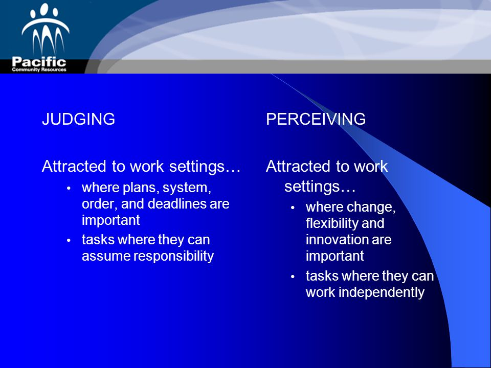 Attracted to work settings… PERCEIVING Attracted to work settings…