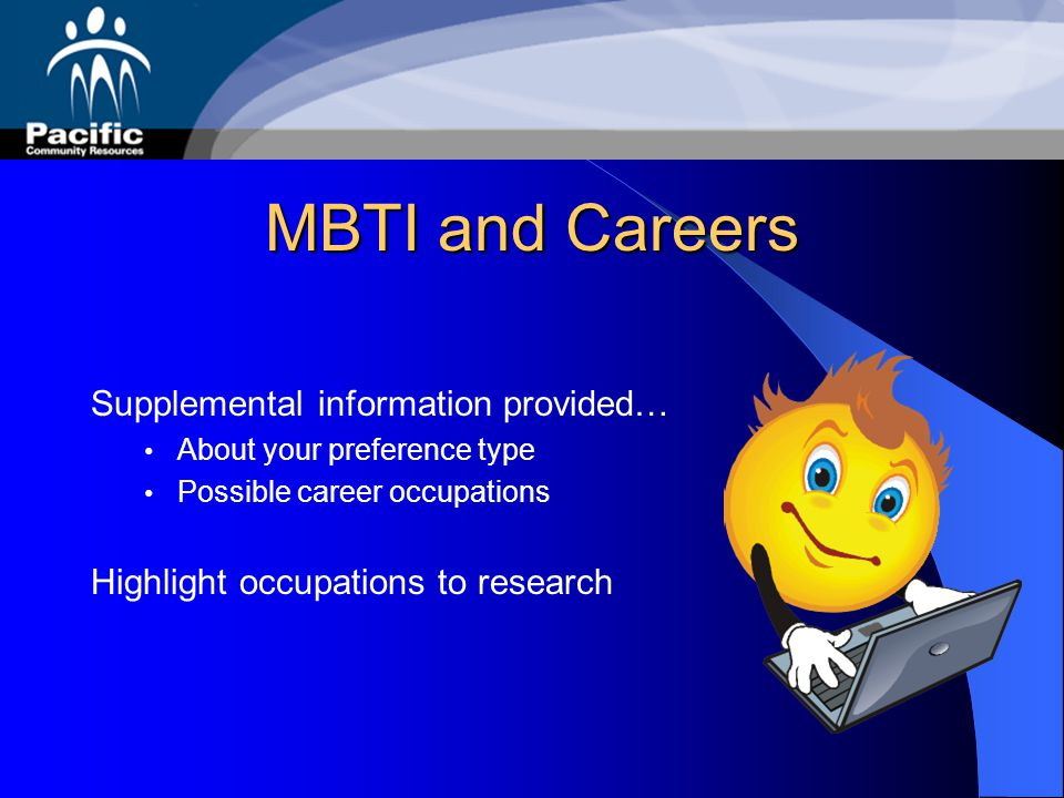 MBTI and Careers Supplemental information provided…
