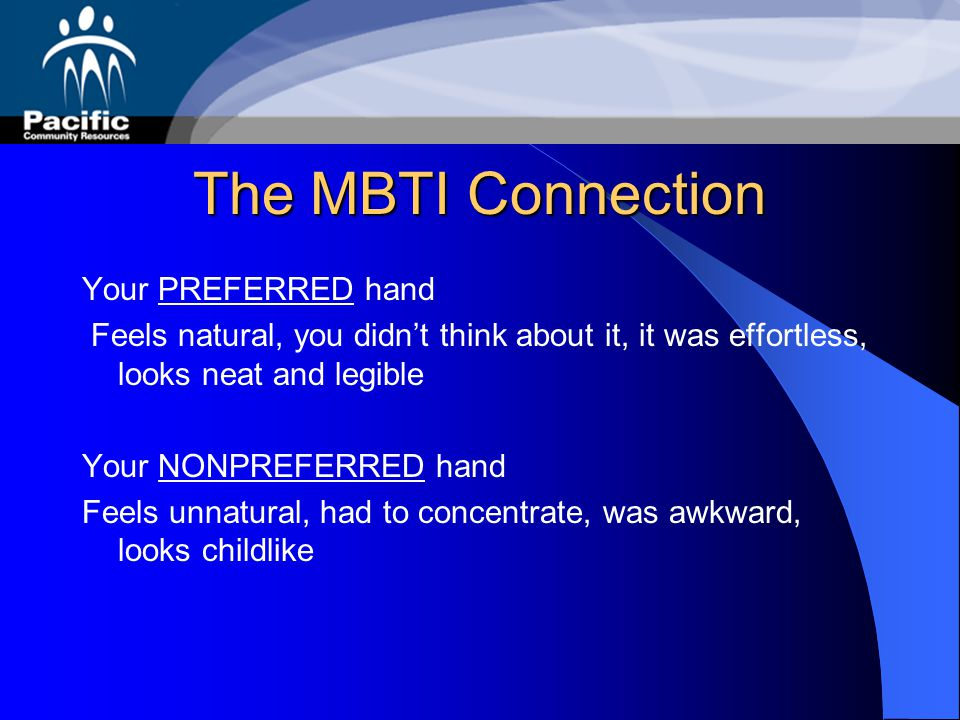 The MBTI Connection Your PREFERRED hand