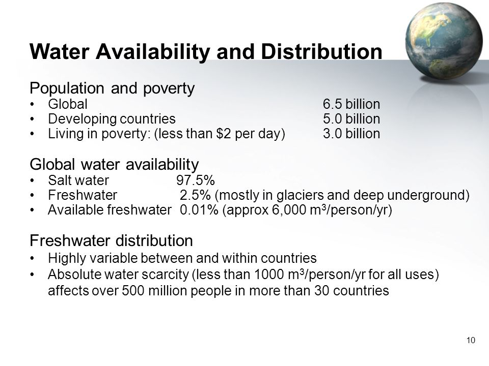 Water Availability and Distribution