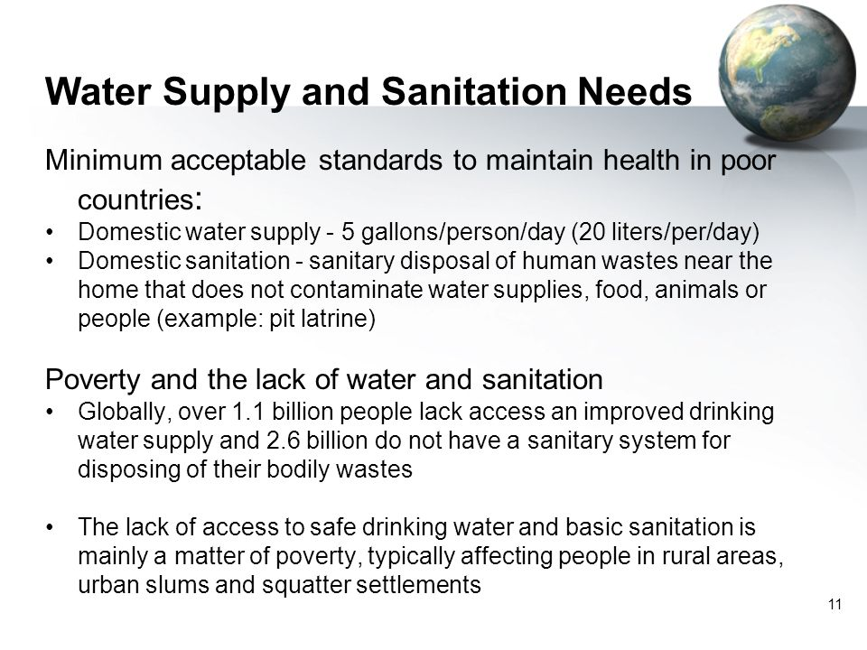 Water Supply and Sanitation Needs