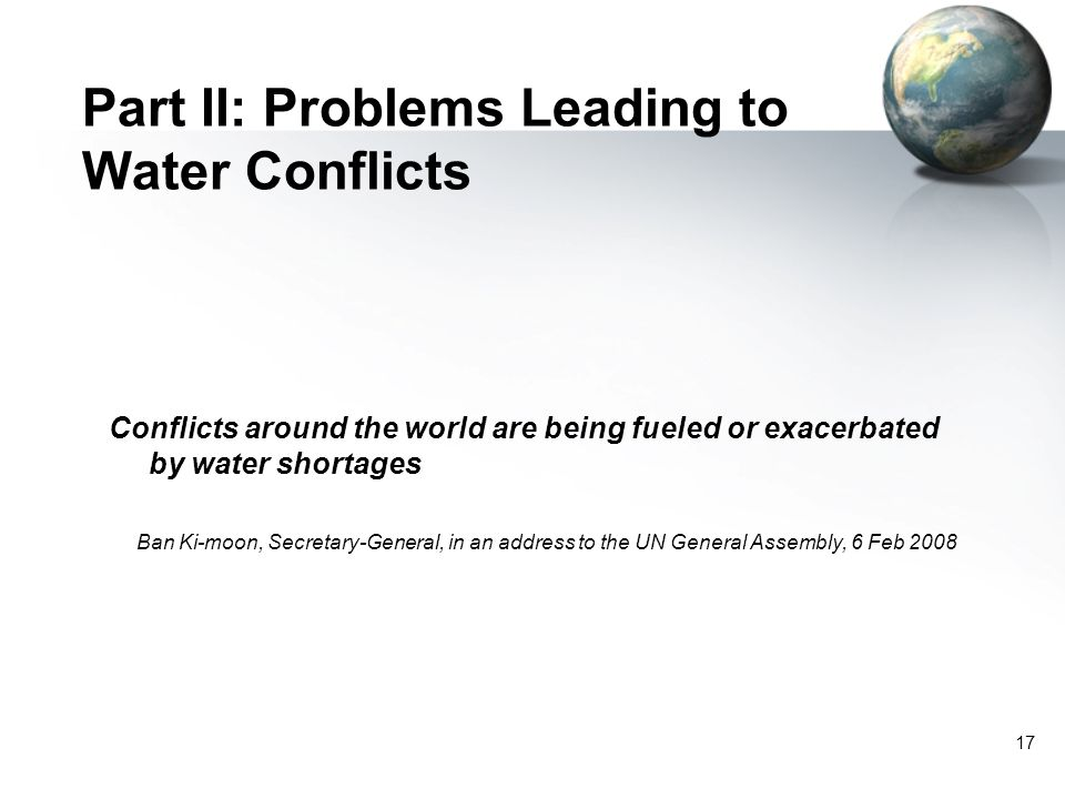Part II: Problems Leading to Water Conflicts