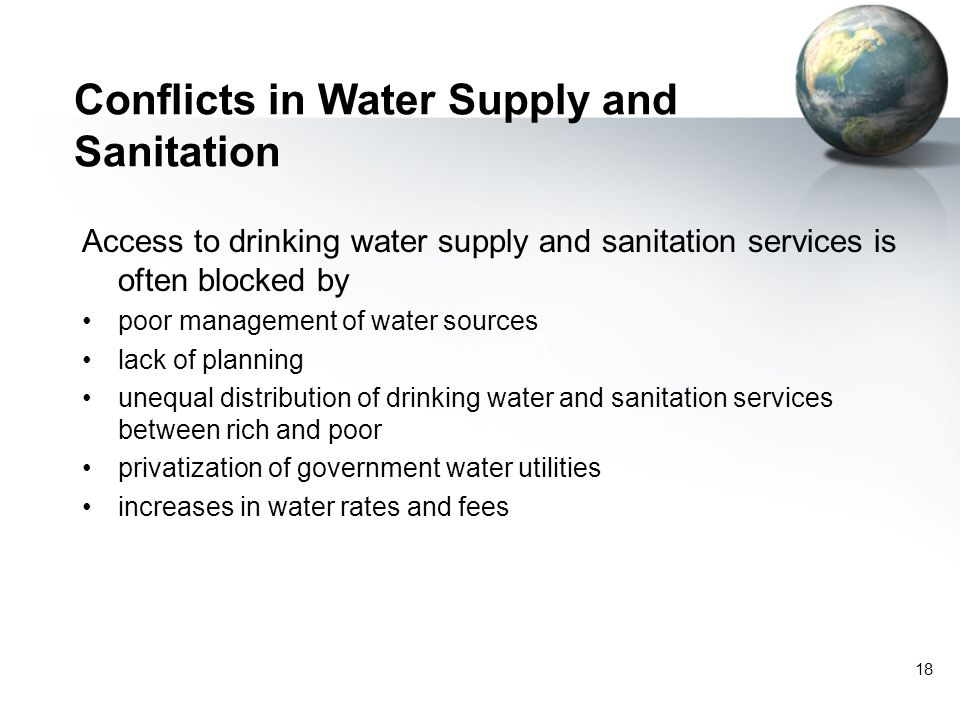 Conflicts in Water Supply and Sanitation