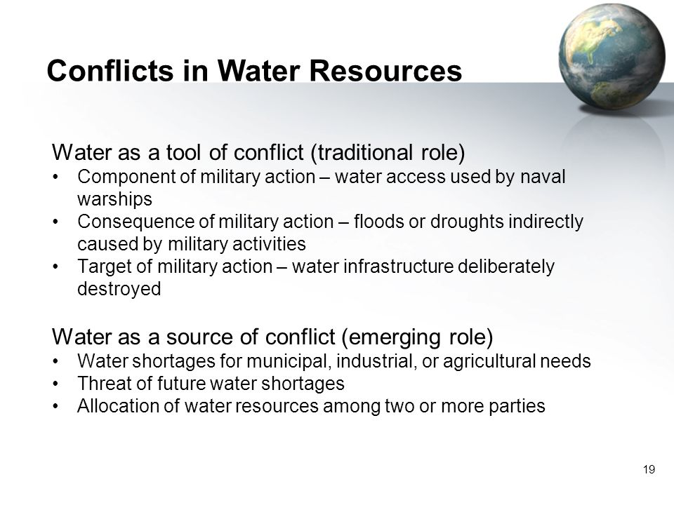 Conflicts in Water Resources