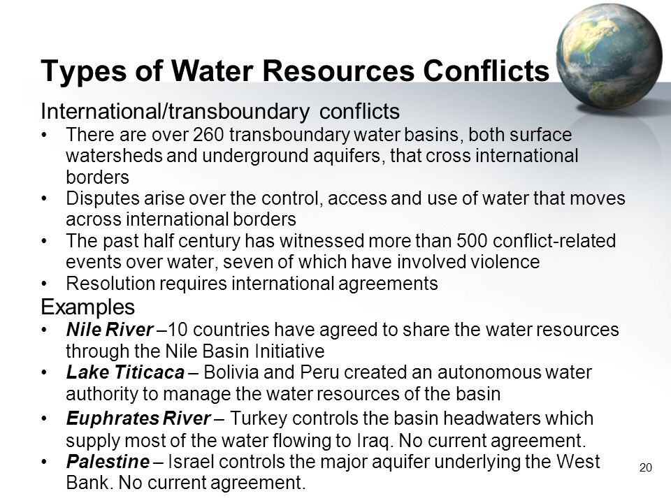 Types of Water Resources Conflicts