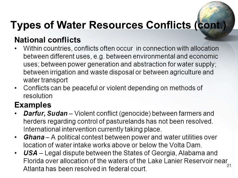Types of Water Resources Conflicts (cont.)