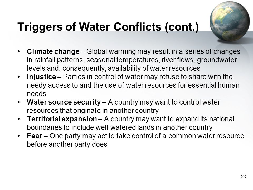 Triggers of Water Conflicts (cont.)