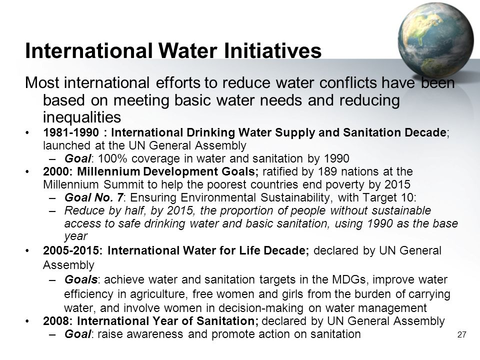 International Water Initiatives