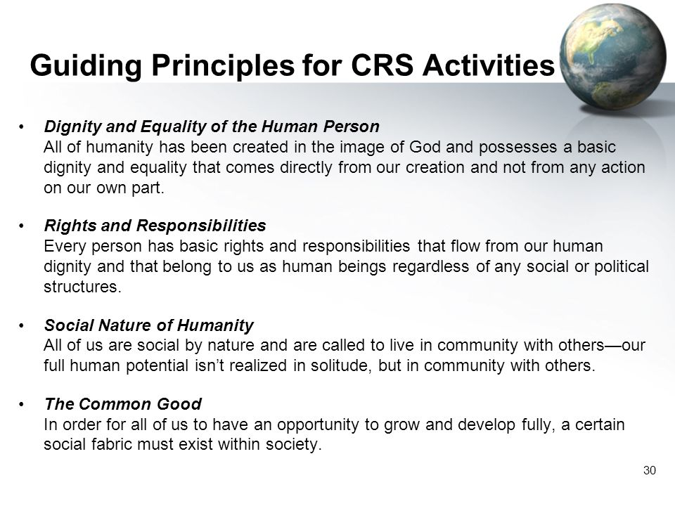 Guiding Principles for CRS Activities