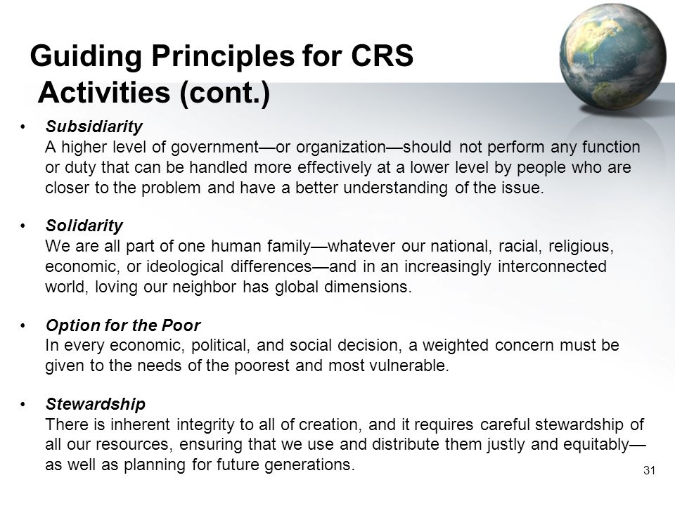 Guiding Principles for CRS Activities (cont.)