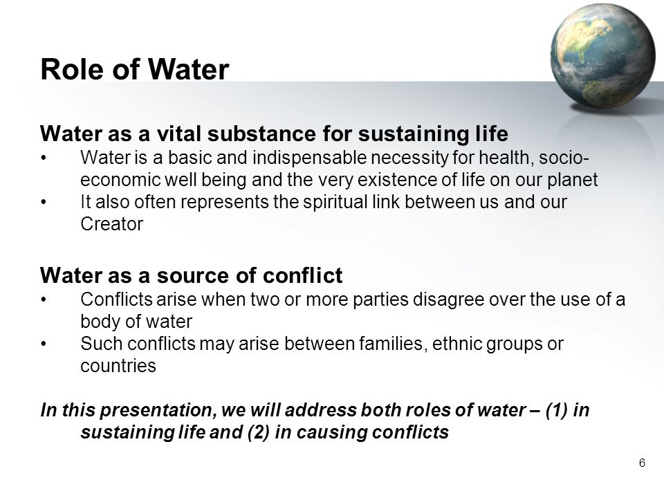 Role of Water Water as a vital substance for sustaining life