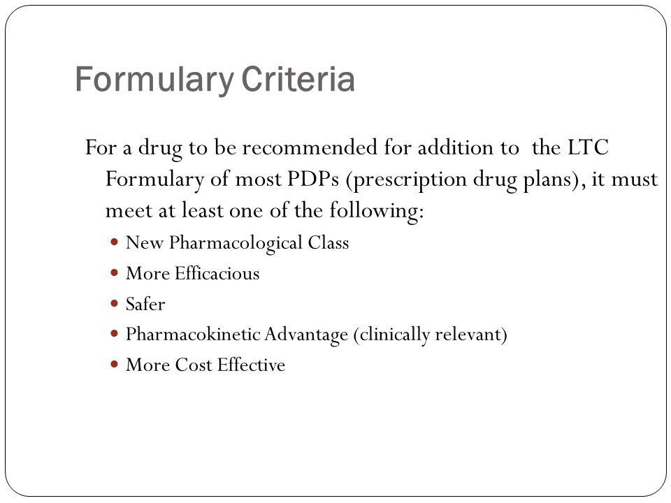 Formulary Criteria