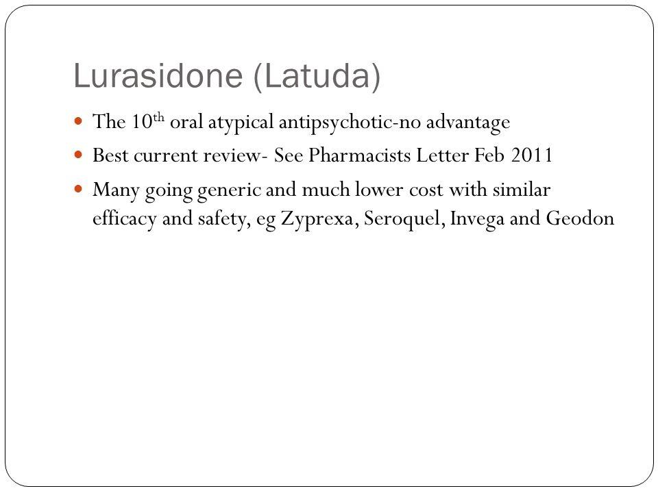 Lurasidone (Latuda) The 10th oral atypical antipsychotic-no advantage