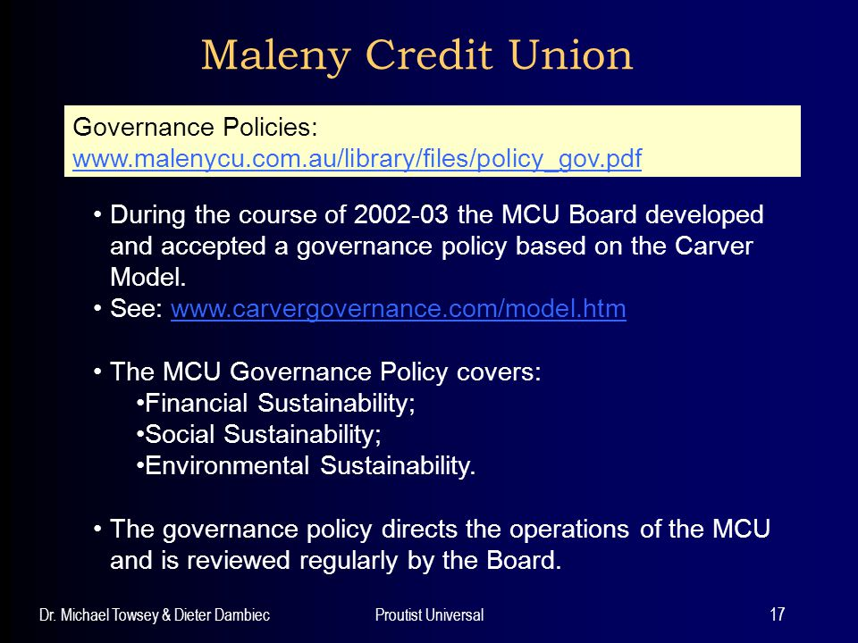 Maleny Credit Union Governance Policies: