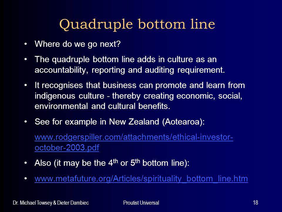 Quadruple bottom line Where do we go next
