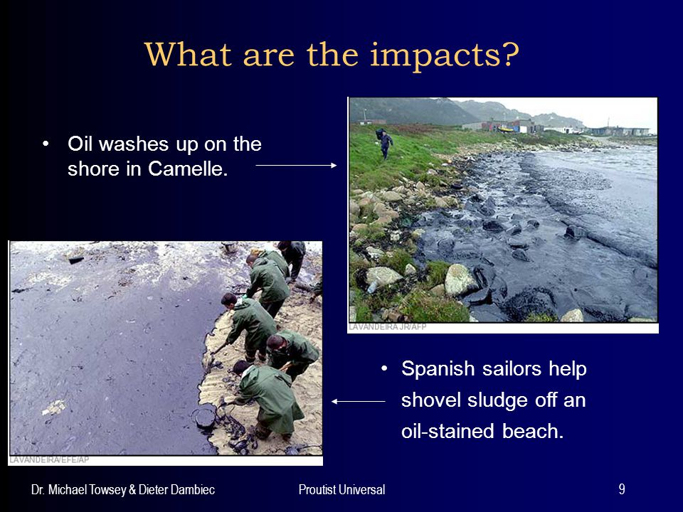 What are the impacts Oil washes up on the shore in Camelle.
